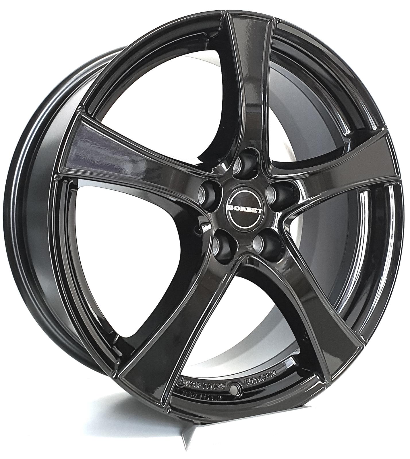image-BORBET F2 Black Glossy 7,5x18 ET44 5x112 Audi A3 A4 A6 Q2 Q3 Seat Skoda VW